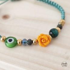 Pulsera ajustable de flores y ojo turco con nudos