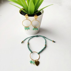 Pulsera y pendientes con piedras jade pequeñas y redondas, en acero con baño de oro