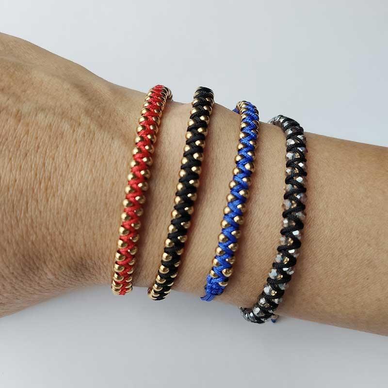 Pulsera tejida con cordon y cuentas en cristal o bolitas de acero, colores variados