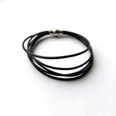 Pulsera de hombre 5 cordones en piel negra redonda de 1mm de diametro, kerete