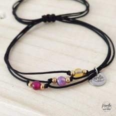 Imagen de pulsera de hilo negro y piedras agatha de colores